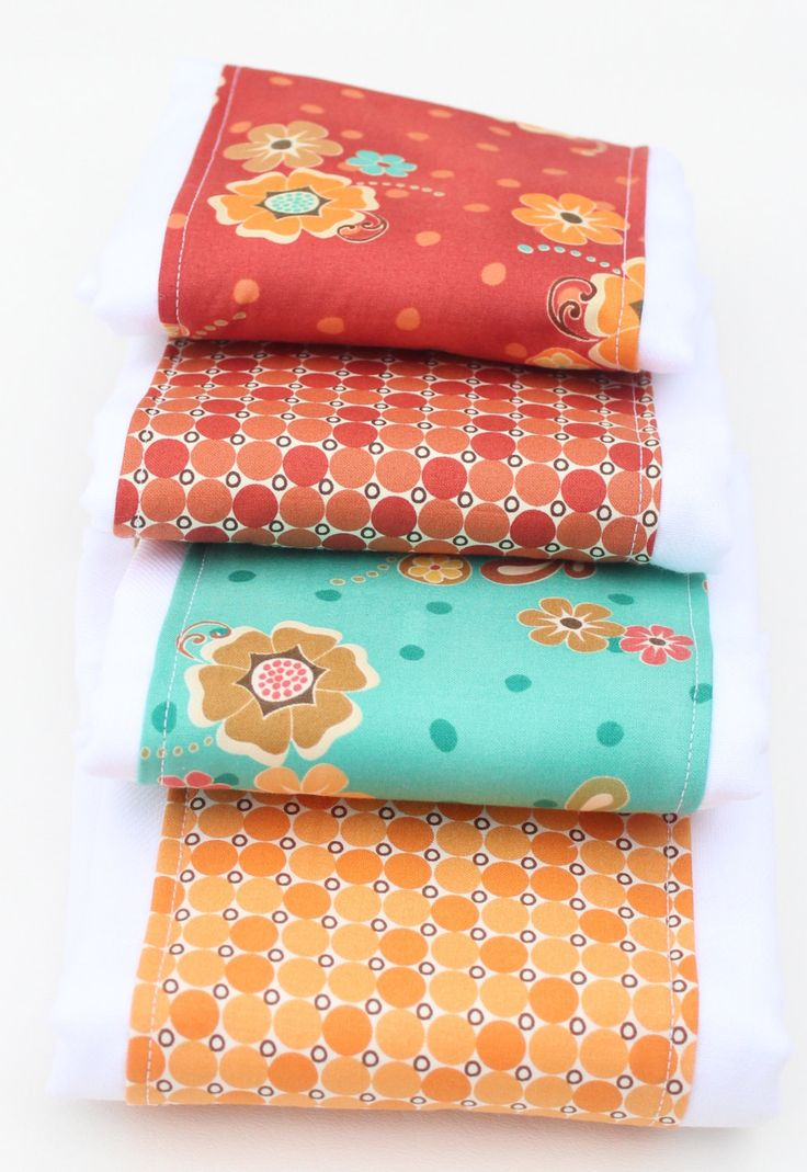 Baby Girl Burp Cloths, Burp Cloth Set, Coral, Orange and Teal Burp Cloth Set, Floral Burp Rags, Baby Burp Clothes, Baby Shower Gift, Set of4 by UrbanAnneDesigns on Etsy