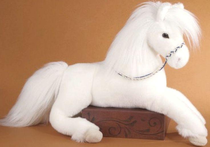 Stuffed Horse Toy : White plush horse