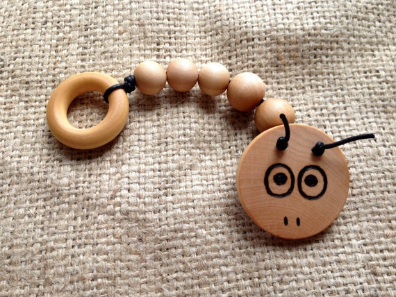 Max the Caterpillar teething ring toy - natural birch wood $5.99 http://www.etsy.com/listing/99684088/new-max-the-caterpillar-natural-wood