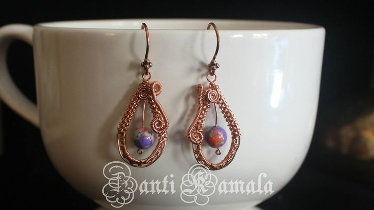 Turkey Turquoise and copper hand woven earrings/copper earrings/rainbow earrings/boho earrings/wire wrapped/copper wire wrapped/earrings by ZantiKamala on Etsy