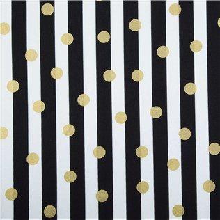 Fabric Cotton Black White Stripe With Metallic Gold Polka