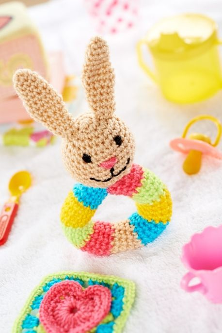 Crochet Bunny Rattle designed for Let's Get Crafting Magazine March 2014. Free pattern available online