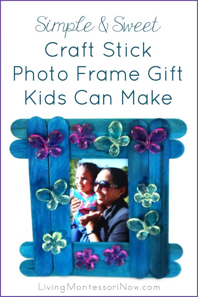 This sweet and versatile craft stick photo frame gift is simple enough for a toddler to help make and can be adapted for older kids to make, too.  A great gift for Mother's Day, Father's Day, Grandparent's Day, a special person's birthday, Christmas, Teacher Appreciation Day ... any time you need a heartfelt, handmade gift.