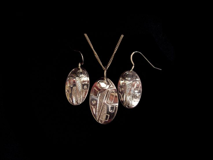Hummingsbird earring and pendant set by Terrence Campbell, Tahltan. Sterling silver. First Nations Art at Black Tusk Gallery.