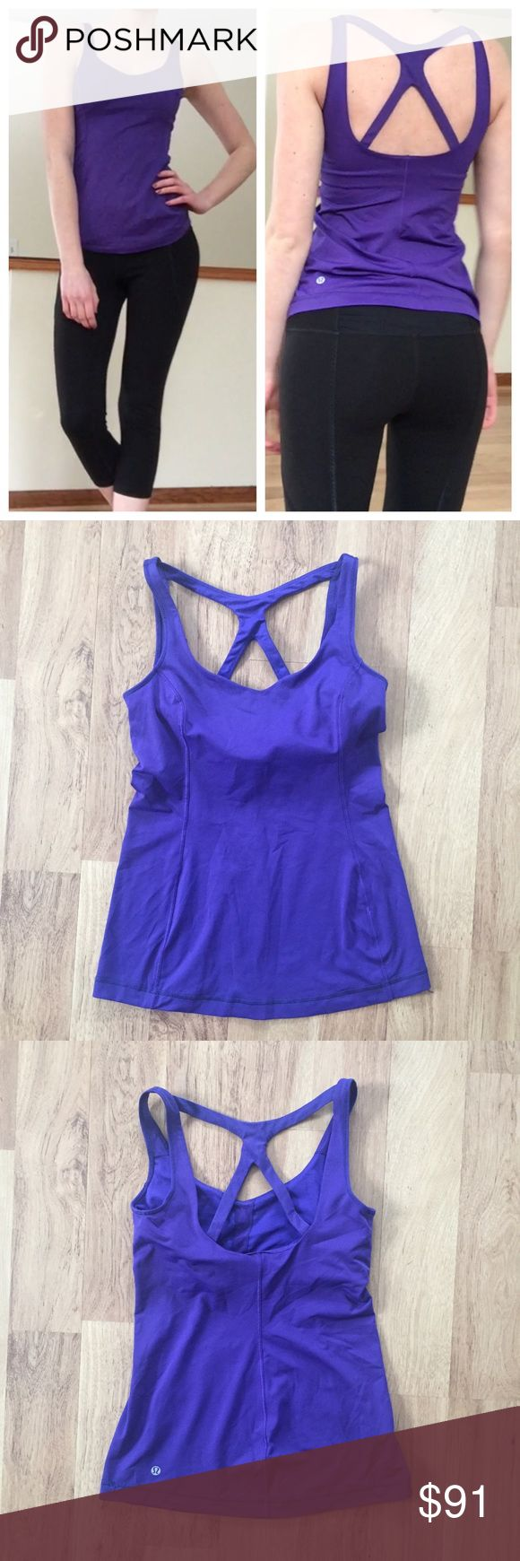 Lululemon Purple Strappy Back Tank Top Size 6 Built in bra! ⚜️I love receiving offers through the offer button!⚜️ Good condition, as seen in pictures! This isn't brand new it has some wear, it's been worn and washed. Fast same or next day shipping!📨 Open to offers but I don't negotiate in the comments so please use the offer button😊 lululemon athletica Tops Tank Tops