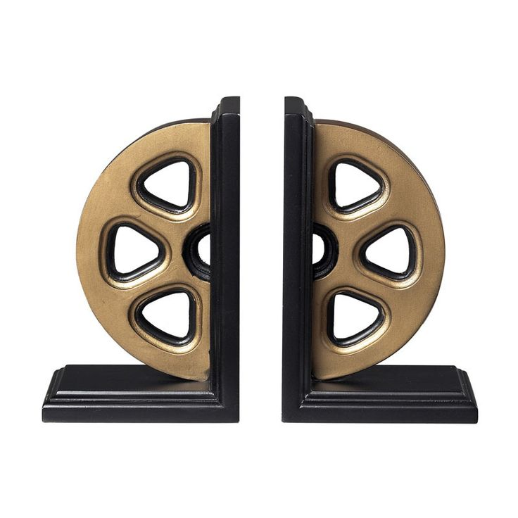 Sterling Industries Movie Reel Bookends.  What a great way to display and organize your favorite DVD's on a shelf in your media room!  Chic and functional theme accessory.