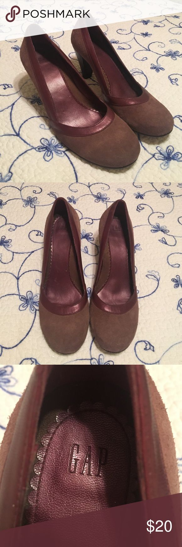 GAP heels Mauve suede heels with purple lining. Slightly worn. Good condition! GAP Shoes Heels