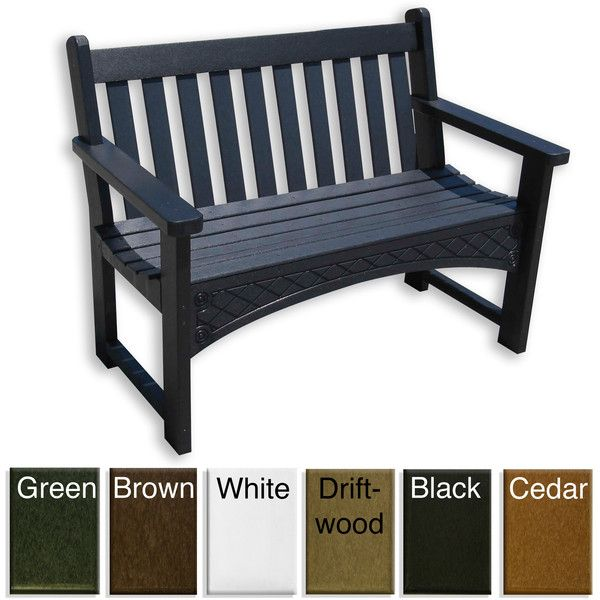 Eagle One Commercial-grade Greenwood Heritage 4-foot Bench ($829) ❤ liked on Polyvore featuring home, outdoors, patio furniture, outdoor benches, black, black outdoor furniture, weather resistant patio furniture, outdoor patio furniture and outdoor garden furniture