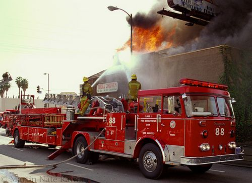 Ladder Fire Truck in Action  