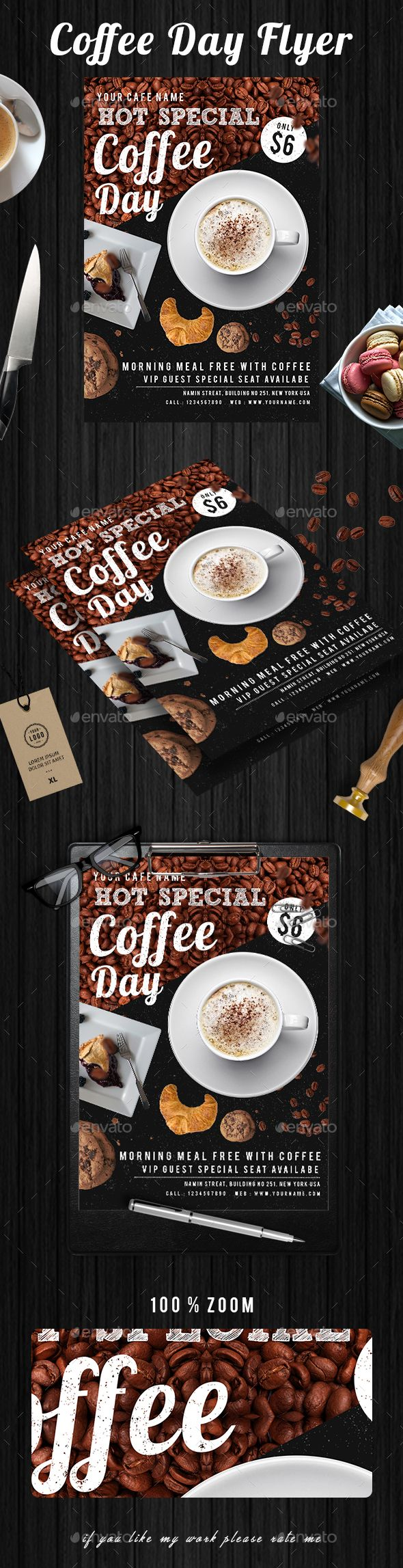 #Coffee #Flyer - Events Flyers Download here:  https://graphicriver.net/item/coffee-flyer/20365211?ref=alena994