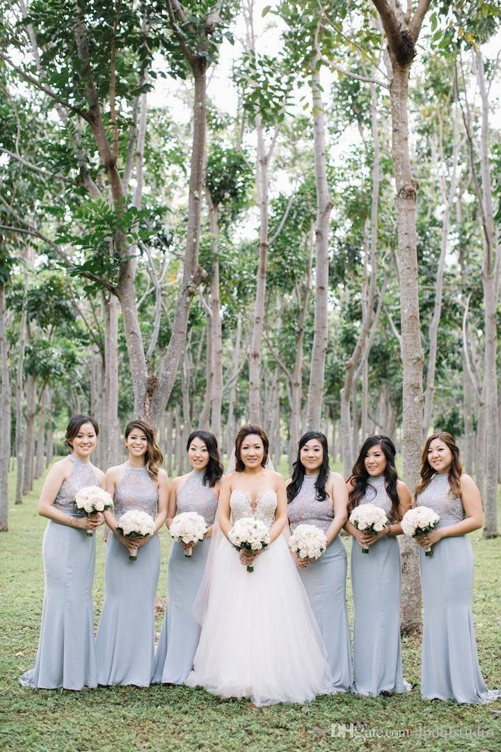 Gray Blue Bridesmaid Dresses Halter Country Style Mermaid Chiffon Lace Bridesmaid Gowns Cheap Summer 2017 New Arrival Bridesmaid Dress Country Bridesmaid Dress Mermaid Bridesmaid Dress Online with $109.0/Piece on Lpdqlstudio's Store | DHgate.com