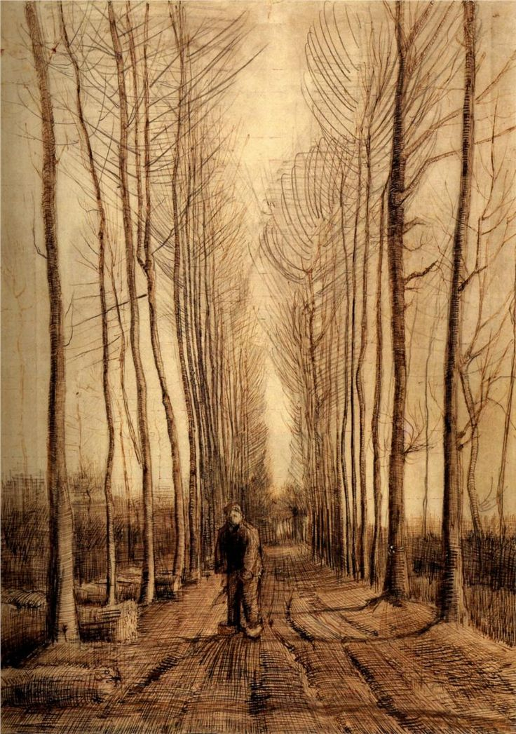 great piece for a living room Vincent van Gogh, avenue of poplars