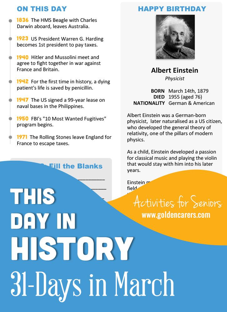 This Day in History for <b>Seniors</b>: March | <b>Dementia</b> Activities ...