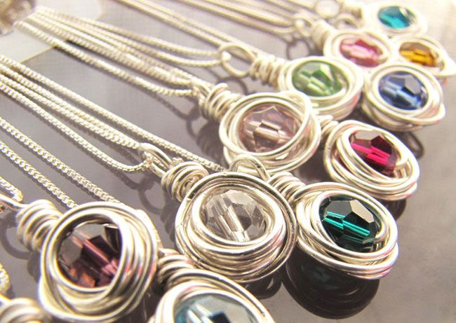 simplicity Bridesmaid Necklaces, Birthstone Necklaces - Set of Three