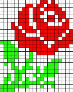 Rose flower perler bead pattern