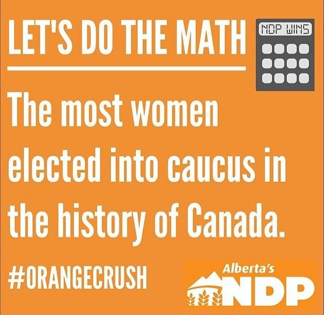 The big winner in May 5th, 2015 vote: Women! Half of Alberta's NDP caucus are women. Largest in Canadian history!