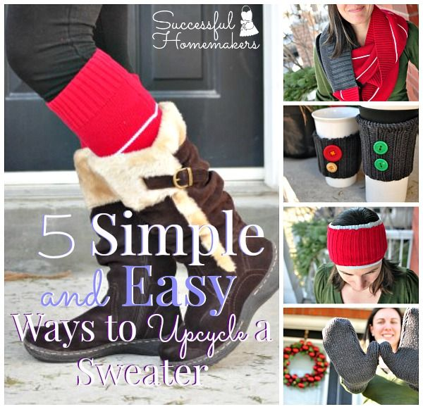 Old sweaters can be turned into useful items quite easily. Don't toss 'em, upcycle 'em! Here are 5 simple ways to upcycle a sweater!