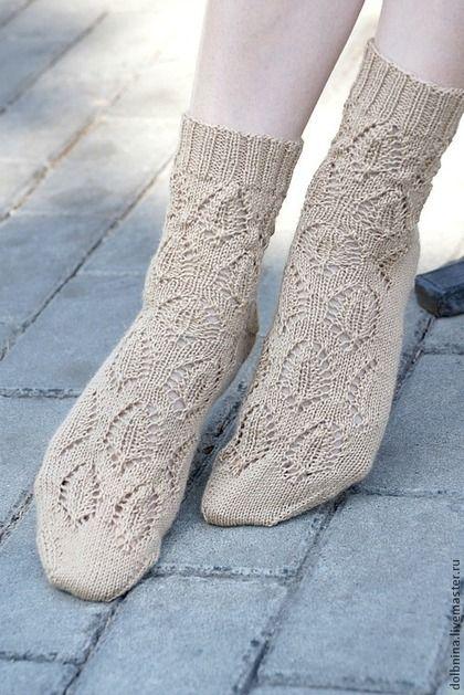 Женские вязаные носки Beige с кашемиром - бежевый,цветочный,ажурные носки