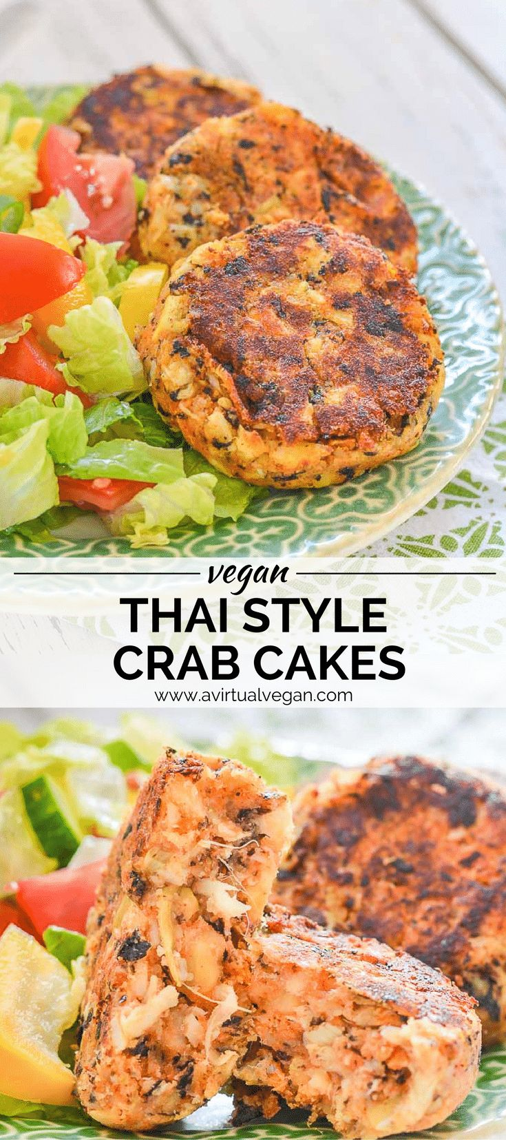 Leave the cute little crabs where they belong & make these Thai Style Vegan Crab Cakes instead. Tender, moist, packed with flavour & subtly 'fishy', they are so like the real deal! And they are really easy to make! via @avirtualvegan #sponsored #HeartToHeartKitchen