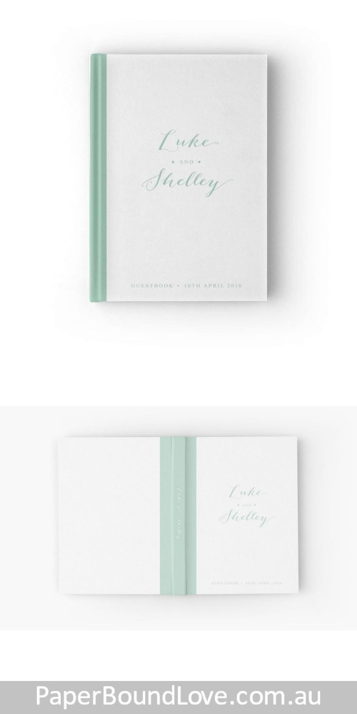 Memories | Mint Wedding Guest Book by PaperBoundLove