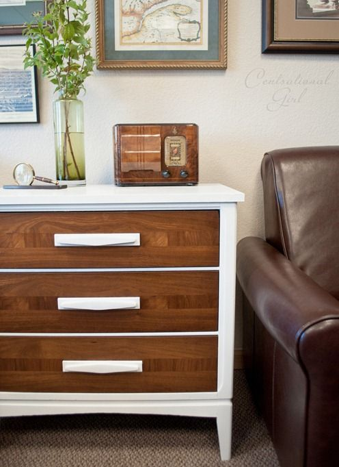 wood and white chest of drawers