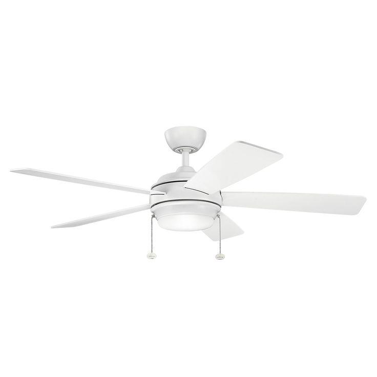 Starkk Matte White Ceiling Fan With Light Kit Kichler Stem Mounted Fan Ceiling Fans Fans