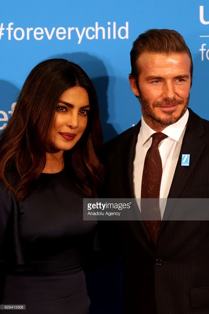 Goodwill Ambassador David Beckham (R) and Priyanka Chopra, UNICEF India National Ambassador, attend the red carpet event of the UNICEF's 70th anniversary celebrations at the United Nations Headquarters in Manhattan borough of New York on December 12, 2016.