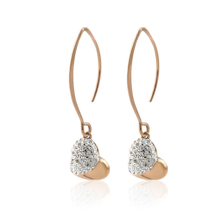 Crystal Heart Drop Earrings. Vintage heart drop earrings are paved with clear Czech rhinestone crystals. Rhinestones are set in stainless steel heart charm. Made with 316L stainless steel, the earrings is Eco-friendly and does not contain lead, nickel or cadmium. Available in PVD gold, rose gold plated for tarnish resistant and a long lasting mirror
