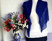 Royal Blue Soft Turkish Scarf Elegant Cotton Shawl Mother's Day Beautiful Gift  Valentine's day Gift Idea Europeanstreetteam Craftoriteam
