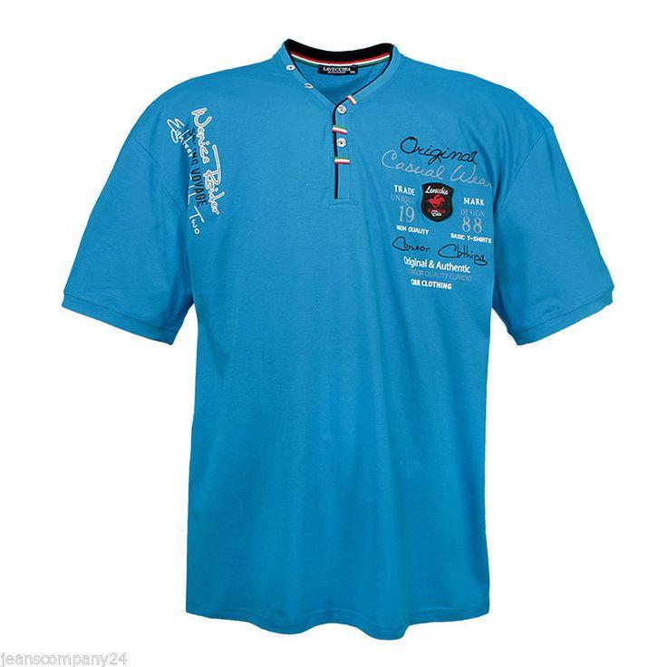Lavecchia Shirt Hemd Polo  Übergröße Türkis Blau V- T-Shirt Man 3XL bis 7XL  Neu