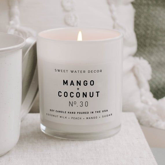 Mango And Coconut White Jar Candle Handmade Candle Coconut Etsy In 2021 Candle Jars Soy Candles Fall Candle Scents