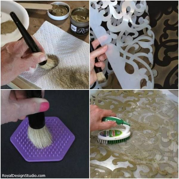 STENCIL TIP! After stenciling, spray the stencil with Simple Green, Krud Kutter or Motsenbacher's Lift-Off #5 and allow to sit for a few minutes. Then clean with a stiff bristled scrub brush on a flat surface. Stencil cleanup will be a breeze! http://www.royaldesignstudio.com/blogs/how-to-stencil/3778142-stencils-and-stencil-brush-care