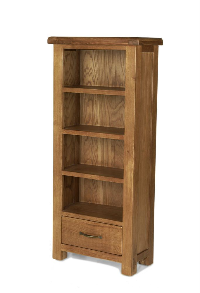 earlsbury solid chunky wood rustic oak slim narrow open bookcase cd dvd cabinet