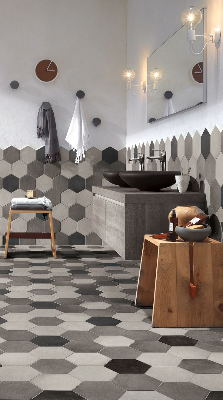 Hexagonal Tiles Bathroom