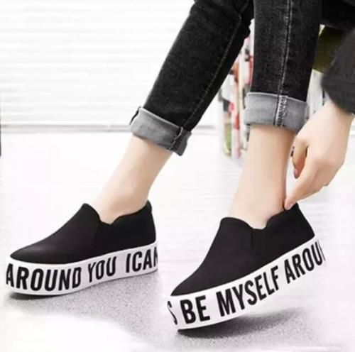 840435fb4827 New Sneakers Womens Slip On Letter Canvas Loafers Casual Platform ...