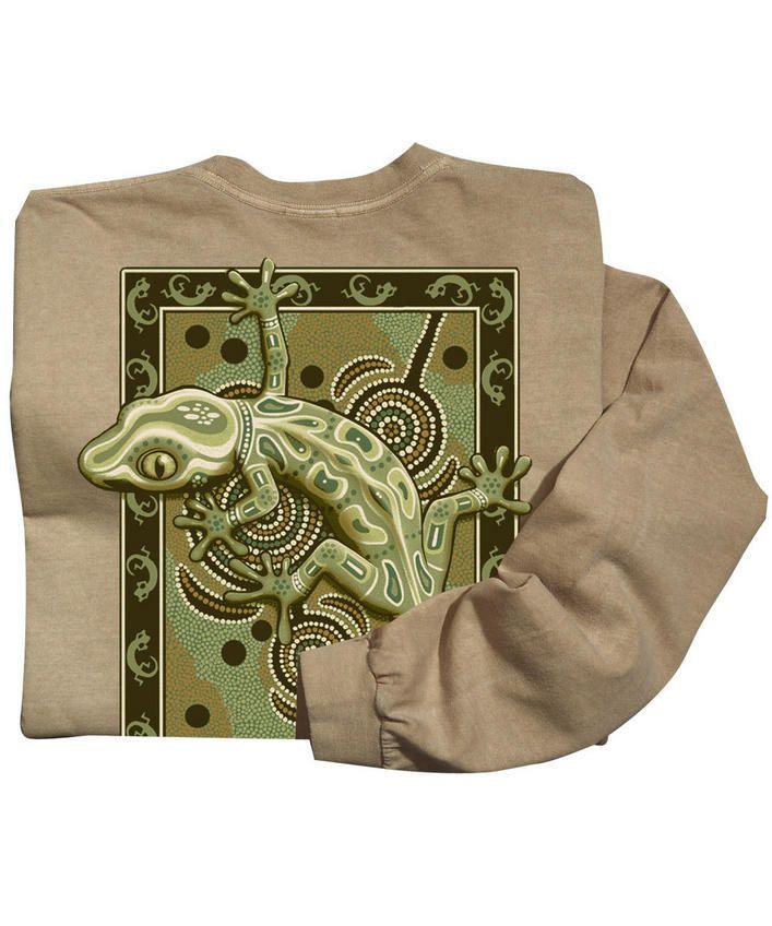 Gecko Mosaic - Kona Coffee-Dyed Long-Sleeve T-Shirt