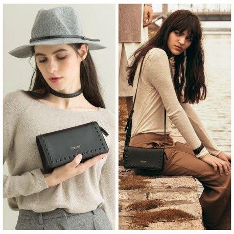 **Free Gift Offer** Women's leather clutch, shoulder bag rivet design