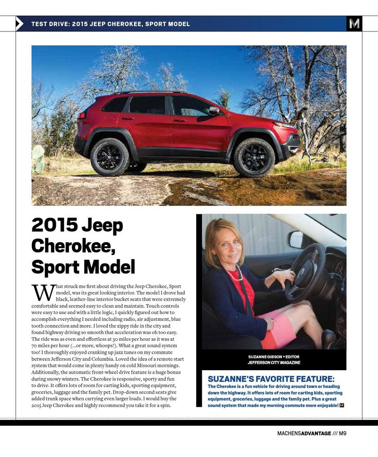 Read about the new 2015 Jeep Cherokee Sport Model. November 2014 Machens Advantage Magazine. #testdrive #jeep #cherokee #columbiamo