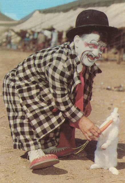 Clown midget in home