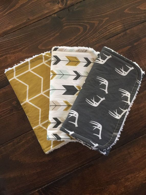 Modern, burp cloths, charcol, antlers, arrows, mustard, gray, mint, chevron, shower gift