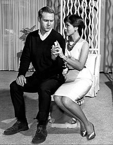 "McQueen and then-wife Neile Adams in the ""Man from the South"" episode of Alfred Hitchcock Presents, 1960"