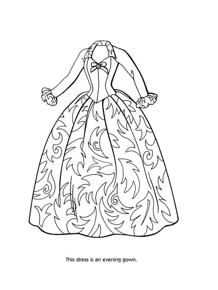 victorian coloring  pages of women's dress | ... coloring pages 36 / Barbie Fashion / Kids printables coloring pages