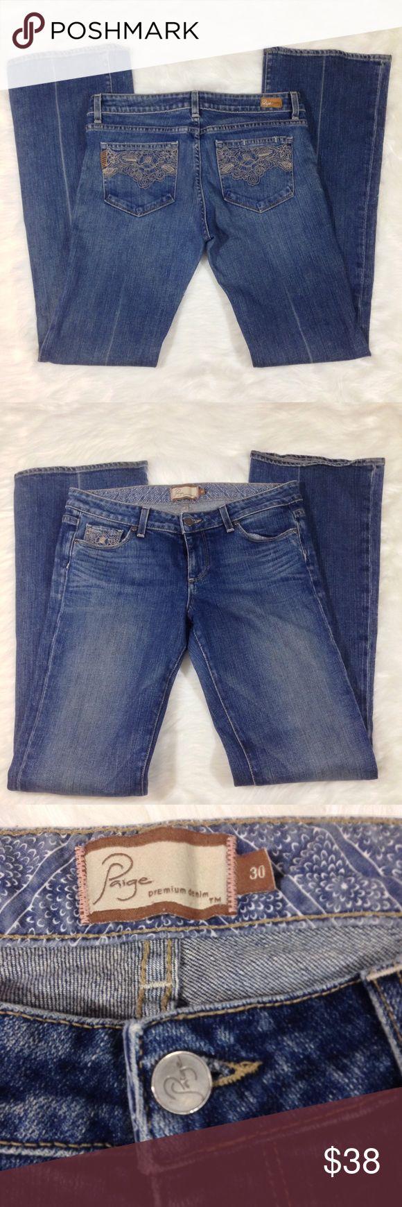 """Paige premium denim laurel canyon jeans Paige denim laurel canyon embroidered pockets jeans size 30. Waist 30"""", inseam 32"""" Paige Jeans Jeans Flare & Wide Leg"""
