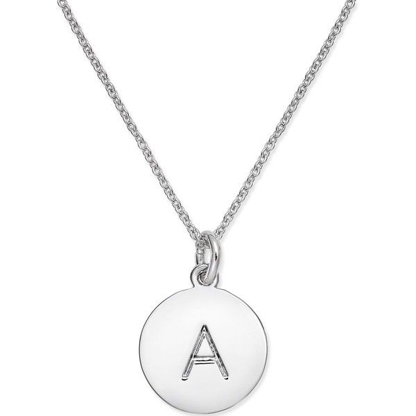 kate spade new york Silver-Tone Disc Initials Pendant Necklace ($58) ❤ liked on Polyvore featuring jewelry, necklaces, a, letter necklace, letters necklace, kate spade jewelry, initial jewelry and pendant necklaces