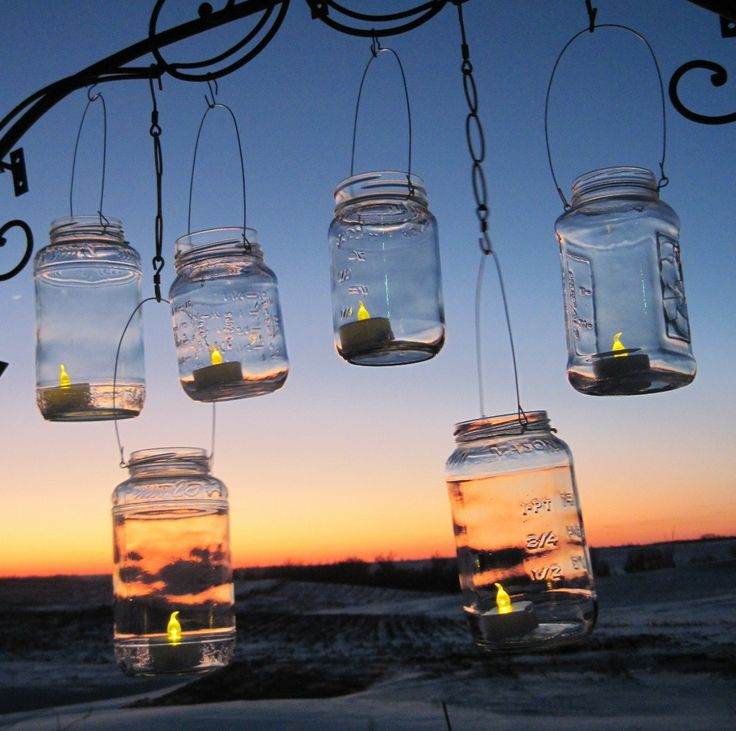 Mason Jar Lanterns, 6 Clear Party Luminaries, Recycled Hanging Candle Jars, Upcycled Lighting, Garden Party, Weddings by TreasureAgain. $40.00, via Etsy.