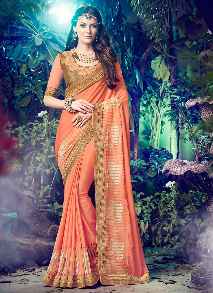 Salmon Color Saree With Eye-catching Plain Pallu The ethnic Resham & Lace…
