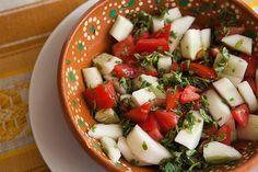 Tomato, Cucumber, Purslane Salad ~ Wild purslane salad with cucumbers, tomatoes, jalapeño chile, lemon juice and salt. Ensalada de Verdolaga. ~ SimplyRecipes.com
