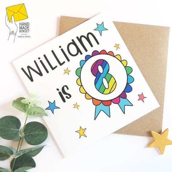 Custom Birthday Card 8th Birthday Card 8th Rainbow Card Birthday Card Aged 8 Childs Birthday Card Bi Old Birthday Cards Birthday Cards Birthday Card For Nephew