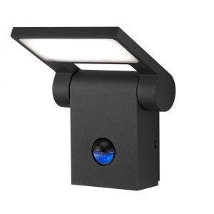 Applique extérieure orientable, équipée d'un détecteur de mouvement, en fonte d'aluminium avec une finition anthracite diffuseur méthacrylate blanc  Éclairage LED intégrée