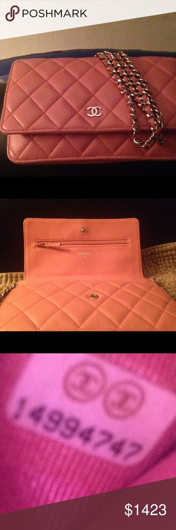 Rare Chanel lamb WOC flap quilted classic mini In great condition inside & out! Rose color mini quilted classic cross-body bag.  100% authentic hologram registration sticker still intact .  Priced for quick sale due to the fact it has a small scuff on back of bag ( included pic) my loss is your gain!  It comes solo couldn't find box due to a recent move.  Please feel free to. Ask any questions Thanks so much for looking!  Misti CHANEL Bags Crossbody Bags